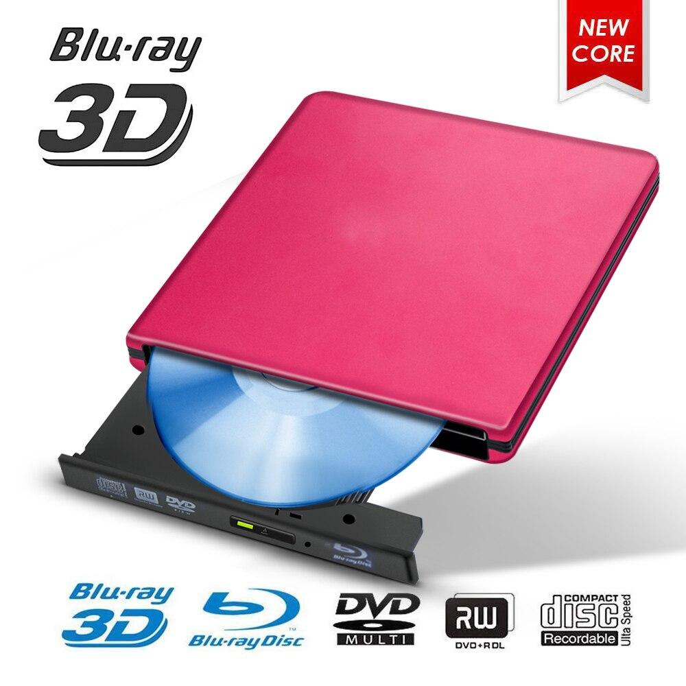 Lecteur Blu-ray USB 3.0 externe BD/CD/DVD graveur métal poli Chrome pour Mac/Windows 10/ordinateur portable/PC lecteur optique lecteur graveur