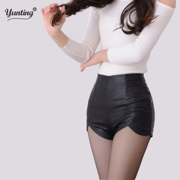 2019 New Fashion Summer Women's Sexy Black Red PU High Waist Shorts Vintage Slim Slit High quality size S-2XL Leather Shorts