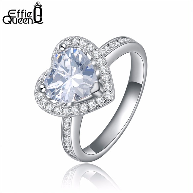 Effie Queen New Arrival Heart Shape Wedding Ring for Women with Paved Micro AAA Cubic Zircon Engagement Ring DR40