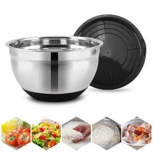 Utensil-Bowl Salad Bread-Pastries Stainless-Steel Kitchen Anti-Scald with Lid Non-Slip