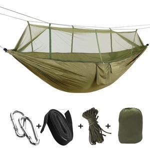 Image 5 - Портативный уличный гамак для кемпинга, подвесная кровать с москитной сеткой, высокопрочная, парашютная ткань, качели для сна на 1 2 человек