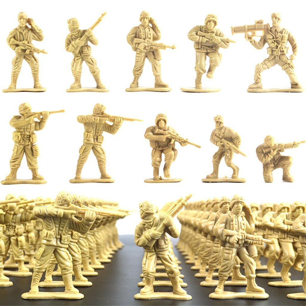 100Pcs/Set Plastic Military Toy Soldiers Model Toys Kit Army Men Figures Action Toy Figures Accessories Children Gifts
