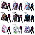 Radfahren Jersey Frauen Mtb Fahrrad Kleidung Weibliche Ciclismo Lange Sleeves Road Bike Kleidung Reiten Hemd Team hosen Custom Design-in Fahrrad-Sets aus Sport und Unterhaltung bei