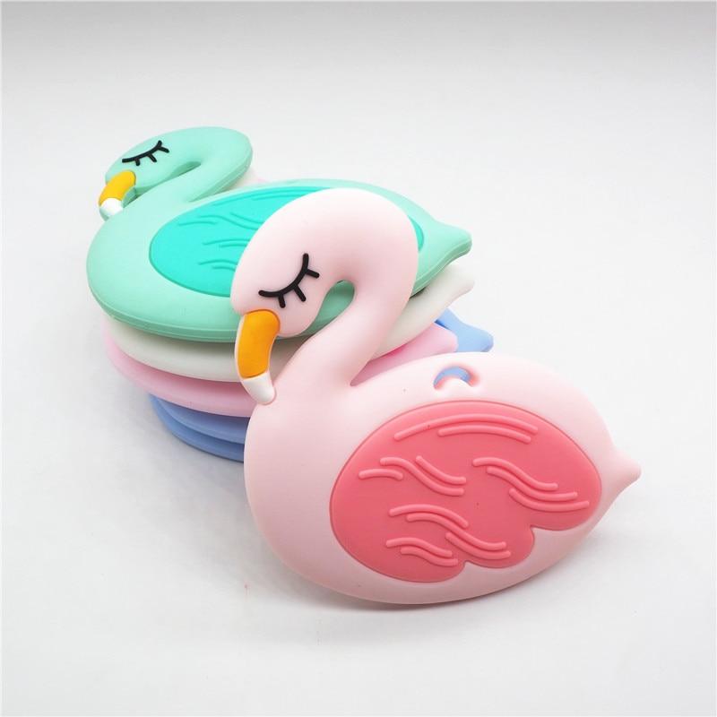 Купить с кэшбэком Chenkai 5pcs Silicone Flamingo Teether Beads DIY Baby Pacifier Dummy Chewing Sensory Montessori Swan Teething Toy Accessories