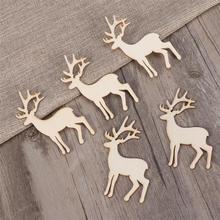 5 шт оленей вырезанные виниры кусочки для лоскутного шитья DIY украшения рождественские деревянные ремесла украшения Рождественская елка Подвески