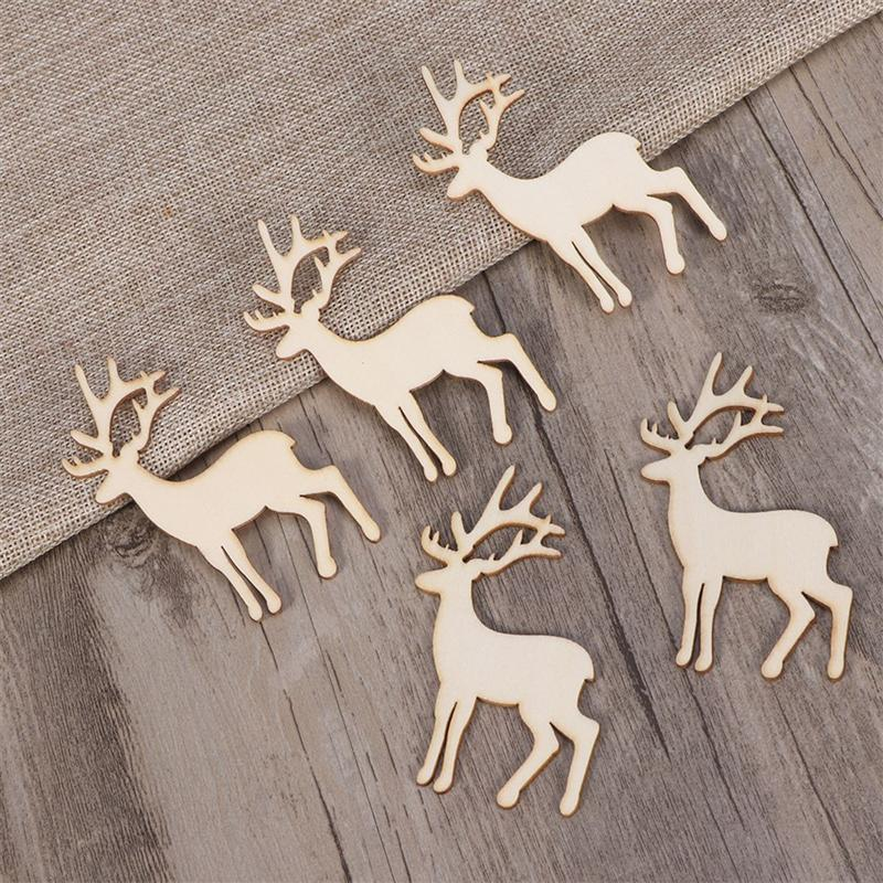 5PCS Reindeer Cutout Veneers Slices For Patchwork DIY Decoration Christmas Wooden Craft Embellishment Christmas Tree Pendants renne di legno