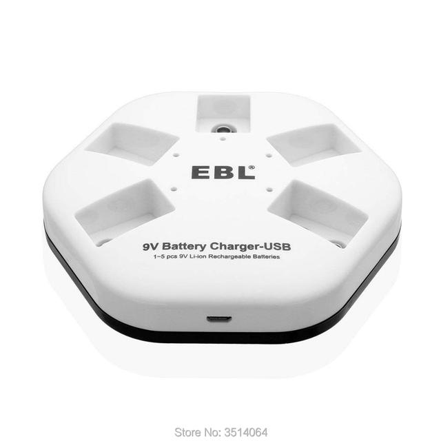EBL 9V iQuick USB Batterie Ladegerät für 9V 6F22 Lithium-ionen Akkus, 5 Bay Smart Ladegerät Individuelle