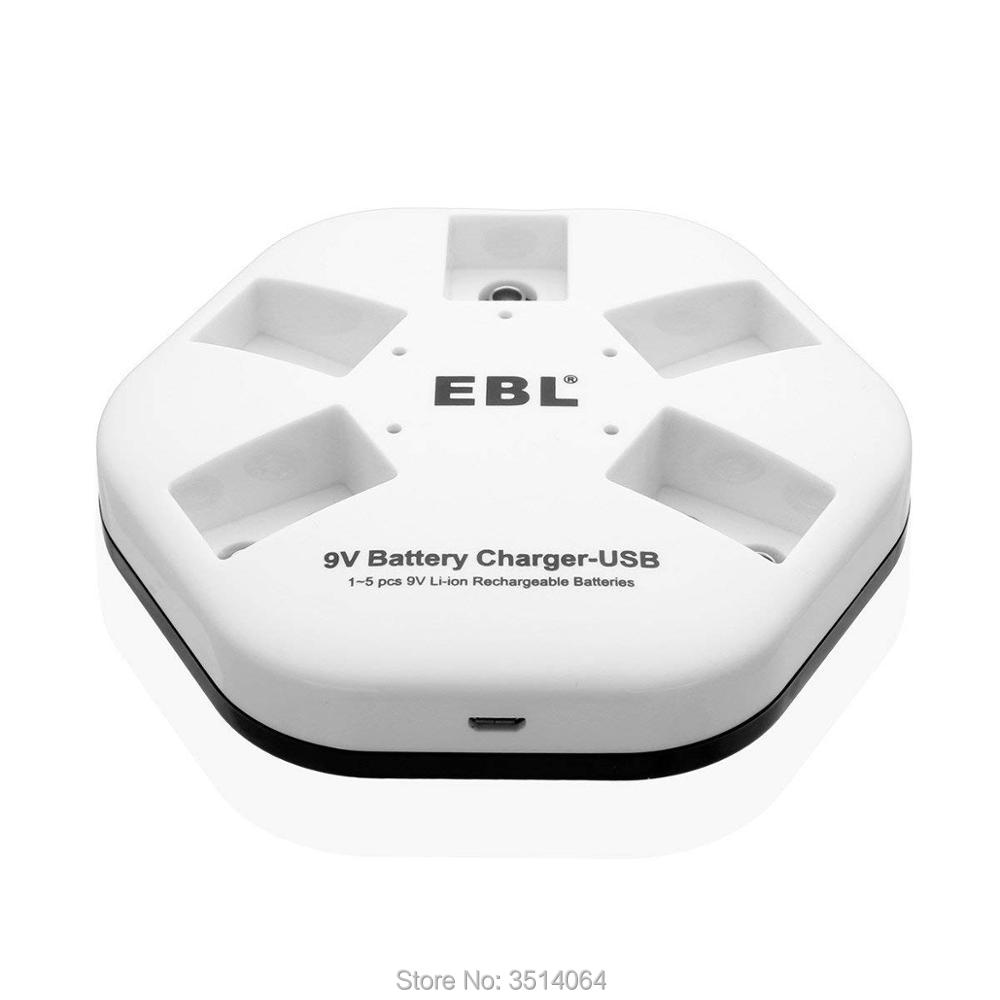 EBL 9V iQuick USB Battery Charger for 9V 6F22 Lithium ion Rechargeable Batteries  5 Bay Smart Charger Individual|Chargers| |  - title=