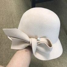 Sombrero de lana con perla y lazo para mujer, nuevo gorro cálido para otoño e invierno, 2019