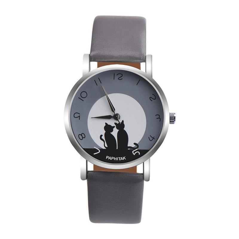 Women's watches casual watches Leather Cute Cat Pattern Leather Watch women Ladies quartz wristwatches montre femme #D 4
