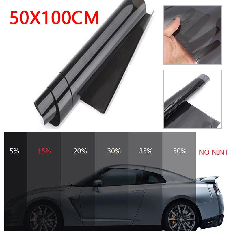 50x100cm Black Car Van Glass Window Roll Tint Film Shade Sticker Accessories New And High Quality Suitable For Most Cars