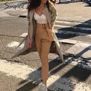 Image 4 - Simplee Elegante hohe taille weibliche harem frauen hosen Solide schärpen khaki hosen Harajuku fitness büro damen hosen femme hosen