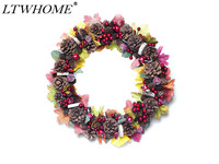 LTWHOME WHAWPCL Artificial Handmade Autumn Wreath with Maple Leaves, Berries, Pine Cones for Home, Front Door, Wall, Mantelpiece