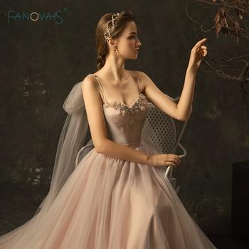 c7708e43144 Элегантные свадебные платья 2019 A-Line ремни длинное свадебное платье  вышитый бисером кружева для невесты