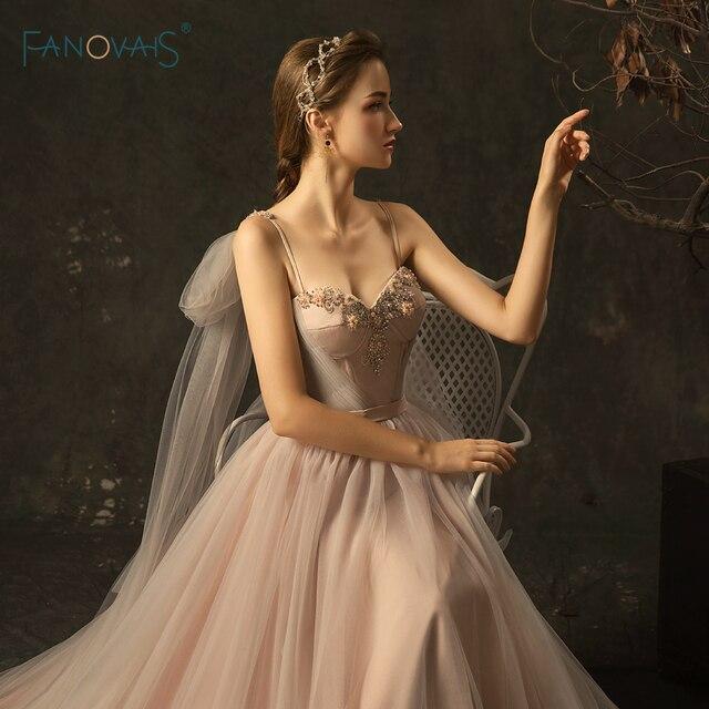 Elegant Wedding Dresses 2019 A-Line Straps Long Wedding Gown Beaded Lace Bridal Gown Vestido de Novia WN22