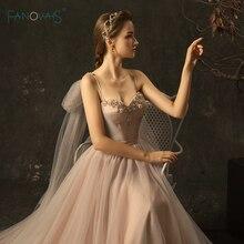 Elegant Wedding Dresses 2020 A-Line Straps Long Wedding Gown Beaded Lace Bridal Gown Vestido de Novia WN22