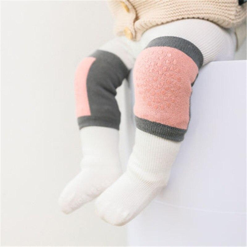 PUDCOCO Baby Boy Girls Safty Crawling Anti Slip Knee Pads Non Skid Kneecap Socks Set