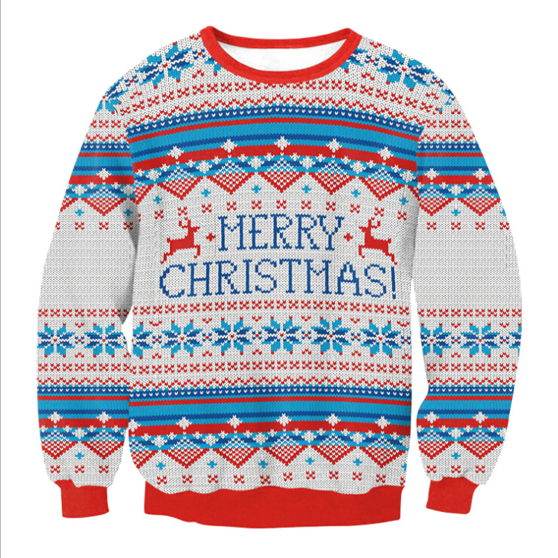 2018 NEW Santa Claus Xmas Patterned Sweater Ugly Christmas Sweaters Tops For Men Women Pullovers Blusas Drop Shipping