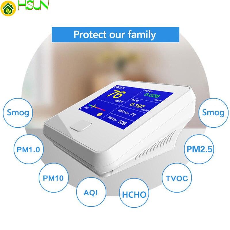 Aria Inquinamento Monitor 6 In 1 Multi-funzione di Sensore Laser Smart Calibrazione PM2.5 PM10 PM1.0 Qualità Dell'aria Monitor di Gas analizzatore