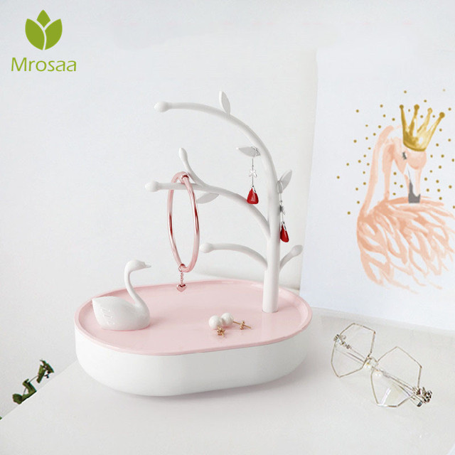 Pink Plastic Makeup Organizer Tree Shaped Jewelry Box Creative Cosmetic Organizer Ring Lipstick Rack Necklace Display Organizer