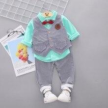 цена на New Children Baby Boys Clothing Kids Spring Autumn Cotton Vest Shirt  Pants 3pcs/sets Infant Gentleman's Bow Tie Casual Suits