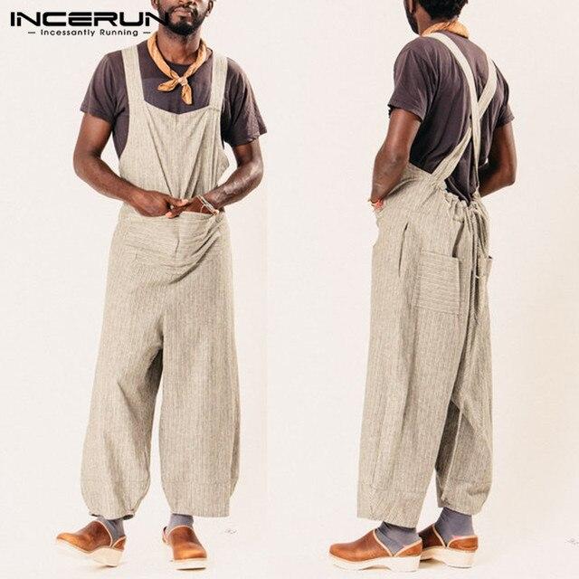 INCERUN 2019 Moda Erkek Tulum Pantolon Çizgili Gevşek Sapanlar Tulum Erkekler Cepler Rahat StreetwearTrousers Erkekler Tulum Hombre