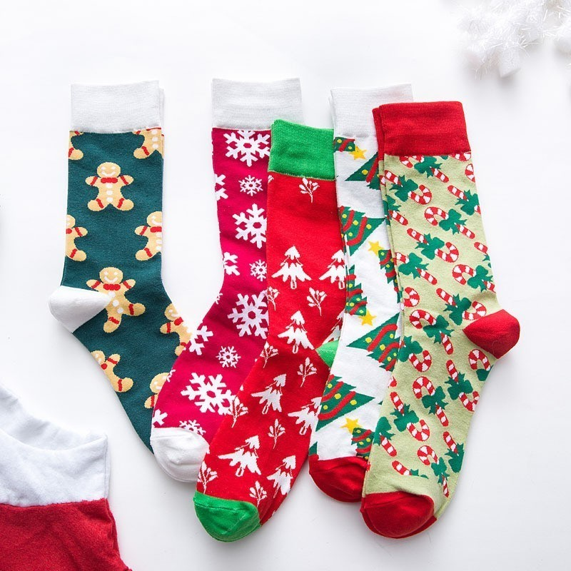Warm Sweat and Deodorant Christmas   Socks   for Lovers Couple Cotton Funny Women's   Socks   New Year Christmas Festival Red   Sock