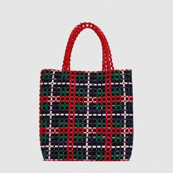 2019 spring and summer Ins super fire woman handbag handmade woven beaded shoulder bag