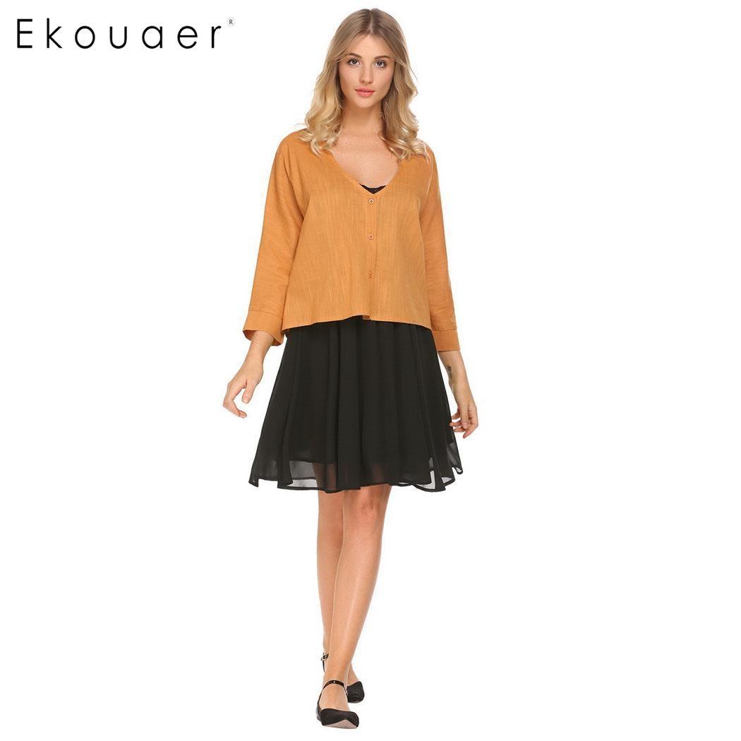 Ekouaer Women Short Coat Casual V-Neck 3/4 Sleeve Solid Short Cardigan Coat Spring Autumn Summer Outwear   Basic     Jacket   S-XL
