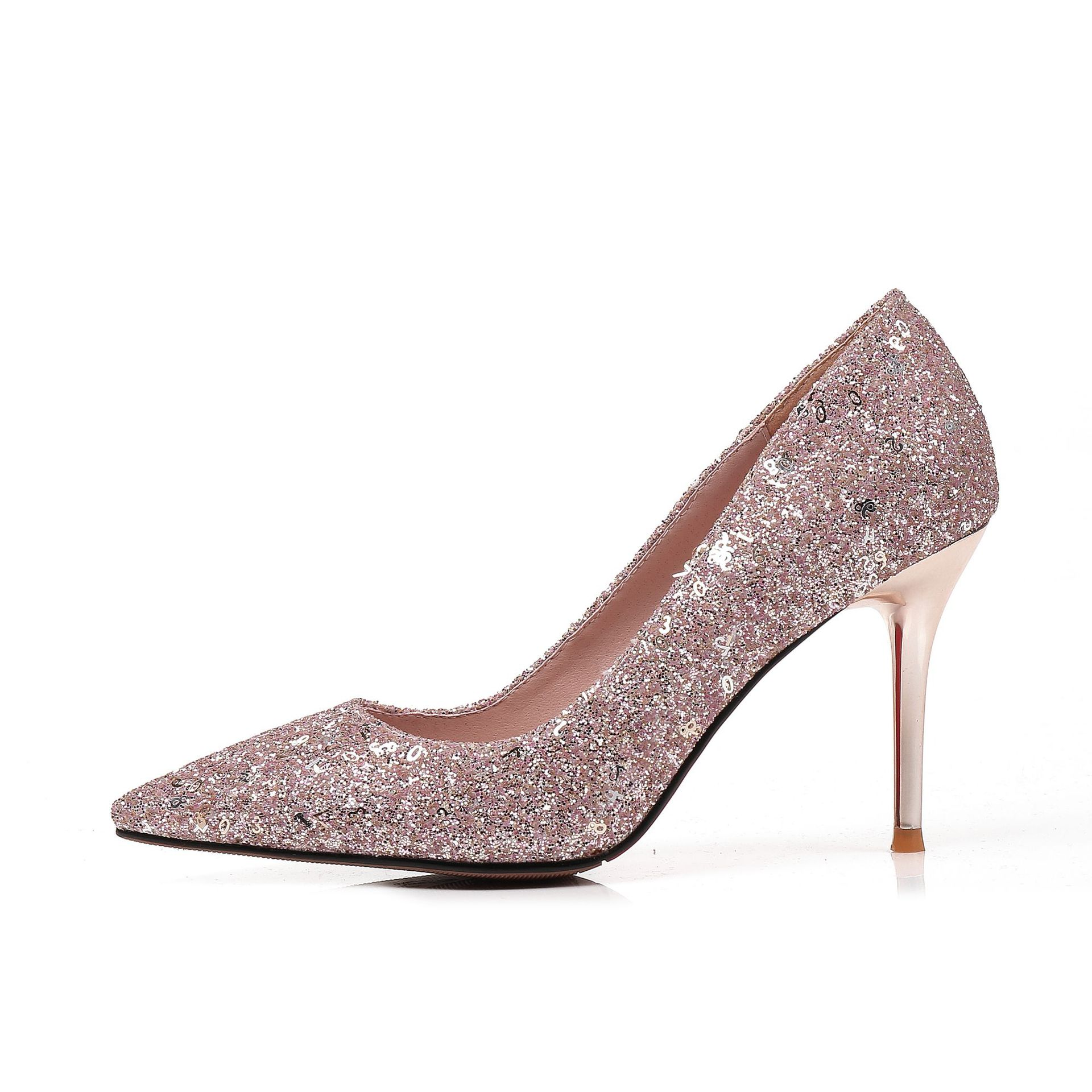 Moraima snc 2019 new stiletto heels pointed sequin single shoes wedding shoes large size womens shoesMoraima snc 2019 new stiletto heels pointed sequin single shoes wedding shoes large size womens shoes