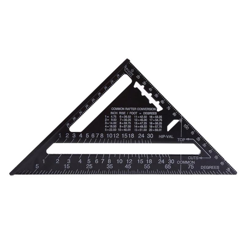 7/12inch Metric Aluminum Alloy Triangular Measuring Ruler For Woodworking Speed Square Triangle Angle Protractor Trammel Tools