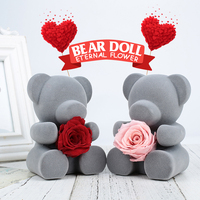 Artificial Flowers Decoration Teddy Bear Red Fresh Roses with Quality Gift Box for Sweetheart Festival Valentine Party Gift