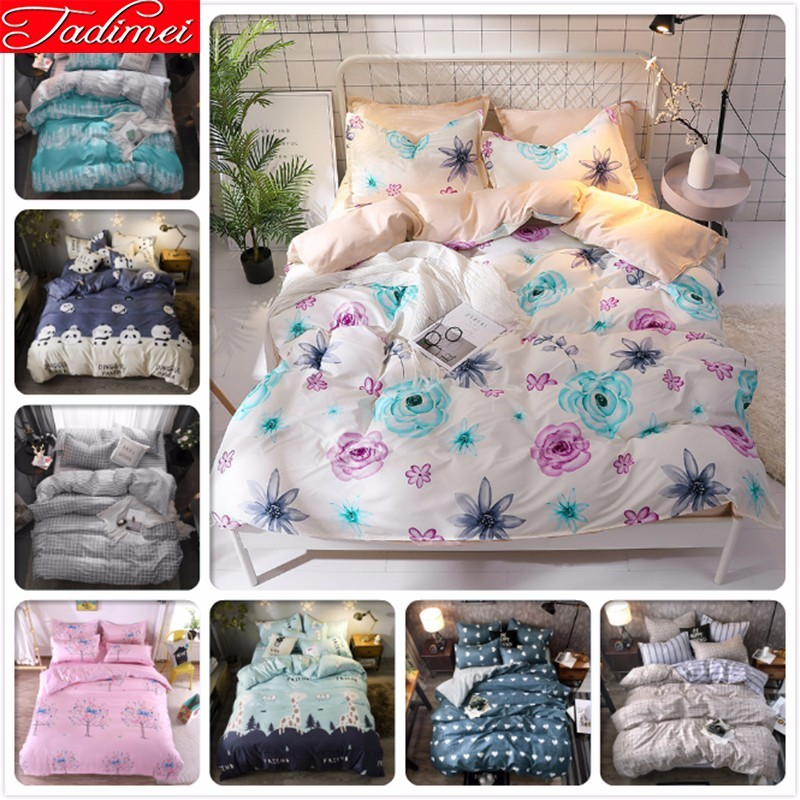 Flower Pattern Duvet Cover 3/4 Pcs Bedding Set Adult Kids Child Soft Cotton Bed Linen Single Full Queen King Size180x220 200x230Flower Pattern Duvet Cover 3/4 Pcs Bedding Set Adult Kids Child Soft Cotton Bed Linen Single Full Queen King Size180x220 200x230