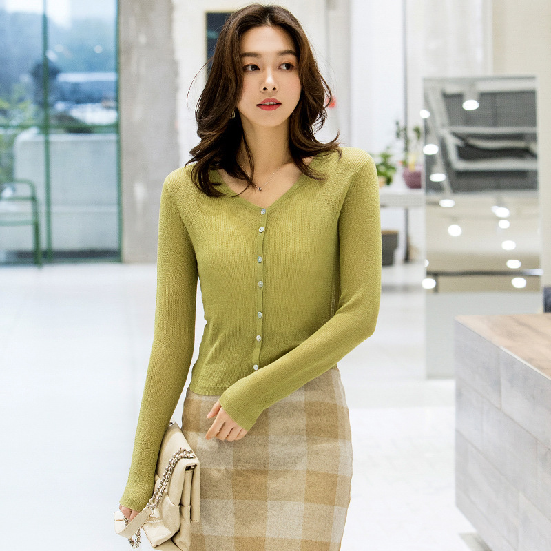 Knitting Cardigan Sunscreen shawl 2019 Spring New arrival all-match Thin Shawl Loose Single Breasted knitted coat spring I6263