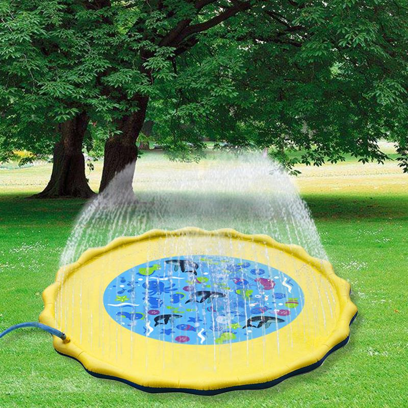 Water Sprinkler Spray Mat Children's Lawn Play Mat PVC Inflatable Water Spray Toy Water Spray Pad Children's Lawn Water Spray