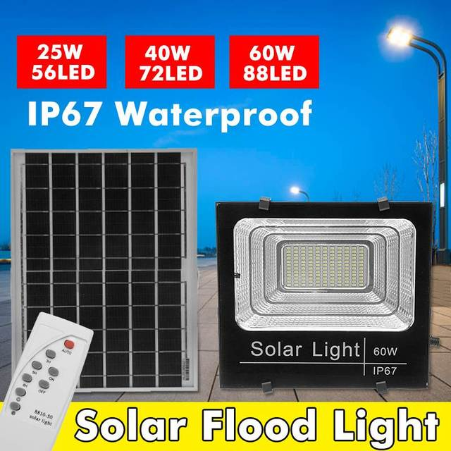 25W/40W/60W Waterproof Solar Powered Sensor LED Flood Light Outdoor Security Spotlight Solar Floodlight with Remote Control
