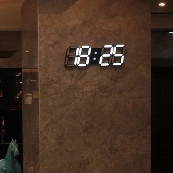 Large Modern Design Digital Led Skeleton Wall Clock Timer 24/12 3D,black