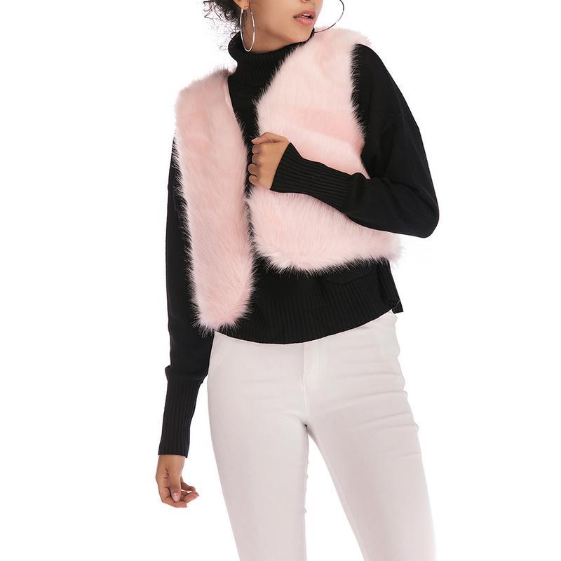 ISHINE 2018 Winter Faux Fur Vest V-neck Sleeveless Artificial Fur Waistcoat Hairy Coat Female Outerwear Waistcoat Big Size XL
