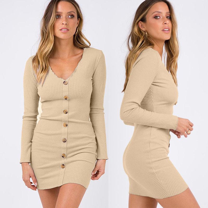 2019 Womens Bandage Bodycon Velvet Long Sleeve Midi Dress Slim Party Knitwear in Dresses from Women 39 s Clothing