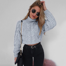 Suéter de invierno para las mujeres 2018 de giro tejido Casual de manga  larga Jersey Top 04d2dd77fe1a