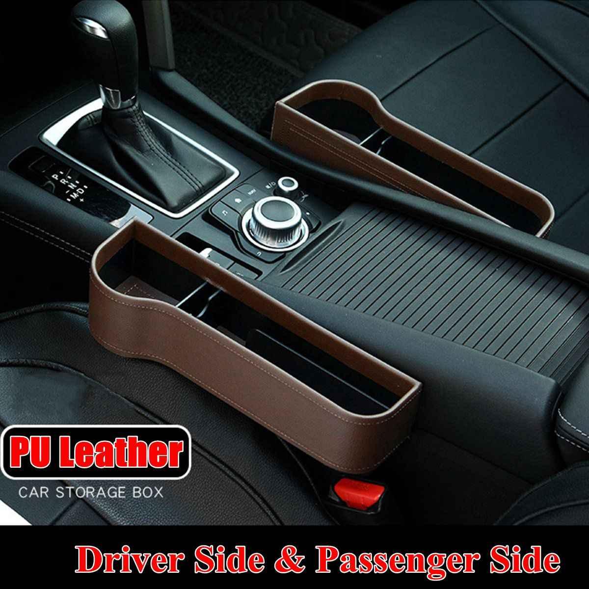 左/右ユニバーサルペア旅客運転席側カーシートギャップ収納ボックスポケットオーガナイザー電話ホルダー黒/ ベージュ/レッド