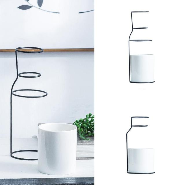 1Set Nordic Simple Style Marble Pattern White Ceramic Iron Art Vase Flower Pot Home Wedding Living Room Decoration Accessories 5