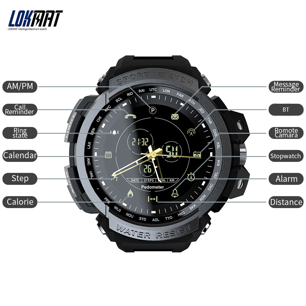 LOKMAT MK28 Smart Watch 1.14inch Waterproof Pedometer Calories Alarm Sports Men Smartwatch for Android 6.0 / iOS 7.0 and above lokmat mk28
