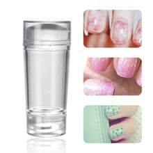 2 size Double Head Nail Art Templates Stamper Clear Silicone Nail Stamping Plate Scraper with Cap Transparent Manicure Tools