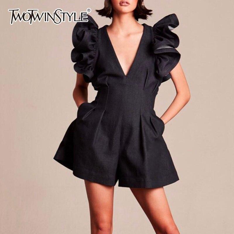 Deuxtwinstyle noir combinaisons pour femmes col en V à volants manches taille haute pantalons courts femme 2019 printemps Streetwear mode marée