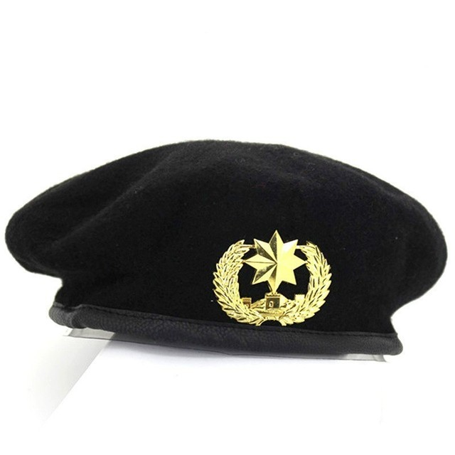 PYJTRL nuevo Metal emblema Unisex de lana boina militar ajustable sombreros  fiesta de disfraces Cosplay realizar 7aa815cf89d