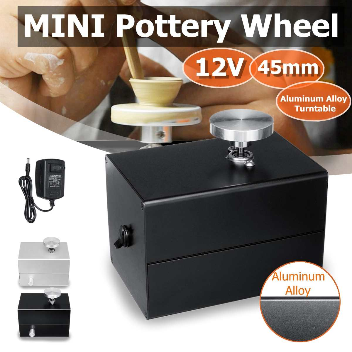 12V Aluminum Alloy Fingertip Mini Pottery Wheel Ceramic Machine 4.5cm Turntable Knob Stepless Speed Change