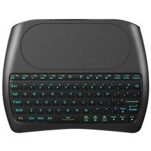 Podświetlenie D8 Pro i8 angielski rosyjski hiszpański 2.4GHz bezprzewodowa Mini klawiatura Air Mouse Touchpad 7 kolor podświetlany na TV BOX z androidem