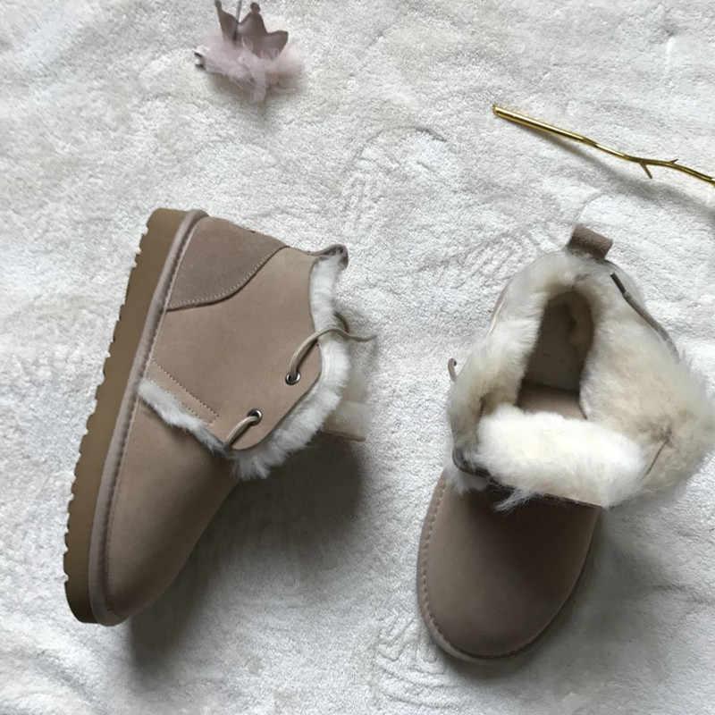 Yeni Stil 2019 En Hakiki Koyun Derisi Deri Kadın Kar Botları 100% Doğal Kürk Kar Botları Sıcak Yün kadın Kış çizmeler