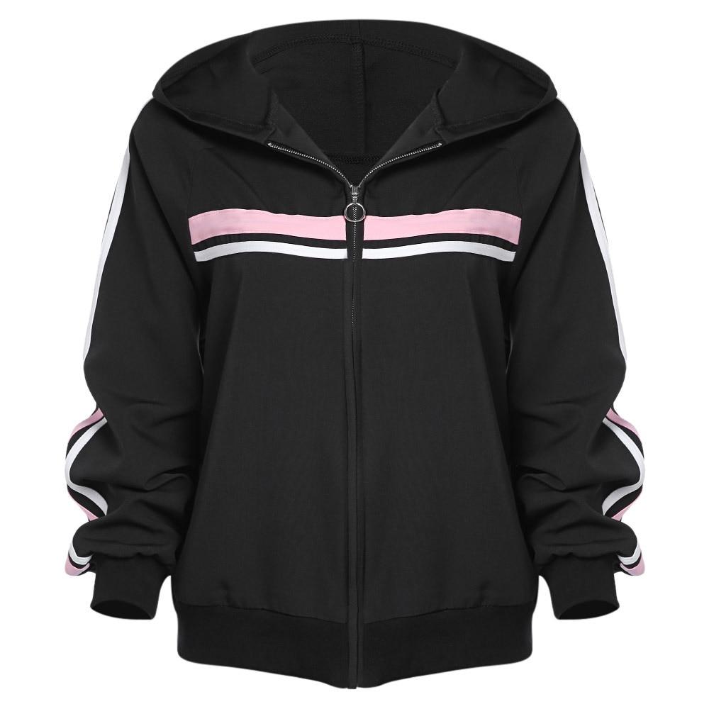 Women Coat Hooded Stripe Print   Basic     Jacket   Long Sleeve Zipper Up Bomber   Jacket   Casual Coats Autumn Outwear Women Clothes